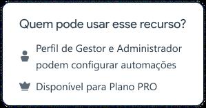 Perfil de Gestor e Administradorpodem configurar automações. Disponível para Plano PRO